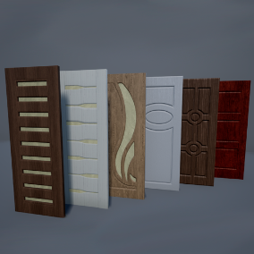 Six various doors for architectural visualization. Six different wood materials for the objects.