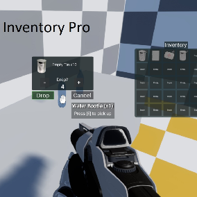 Inventory Pro easily adds items and an inventory menu into your project. It can be used in your project without having to change what you have already created. It also adds an interaction system with any object that has collision by visibility.