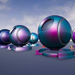 Iridescent material that can be edited with different color variations