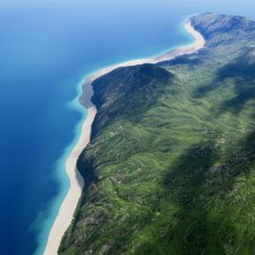 An explorable island landscape.