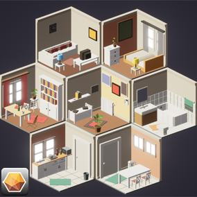 Isometric 3D Series House Interior Asset Pack.