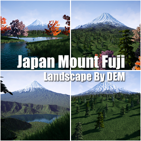 This is the Japan Mount Fuji landscape made by the satellite digital elevation model