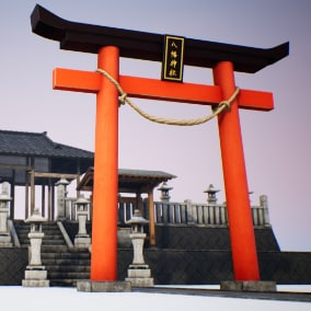 Accurate Rendition of Japanese Hachiman Shrine with modular building pieces and multiple material variants!