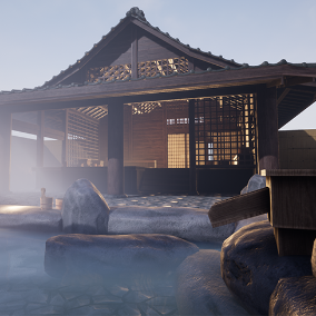 A Japanese hot spring and thermal bath modular environment pack.