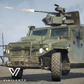 The Vigilante IMV TigrM comes with Desert and Forest textures, is fully rigged, has animated Wheels, Roof hatch, and a 7.62mm general purpose machine gun. This vehicle is DIS/HLA (RPR FOM) Integration ready. Designed for simulations.