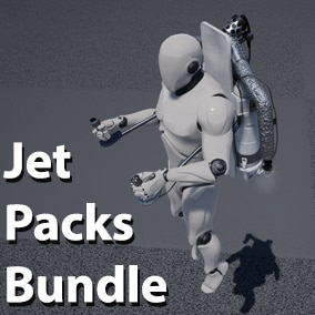 A bundle of Jet Packs of various types, with animations, effects, and audio and example blueprints needed to let your character fly around in style.