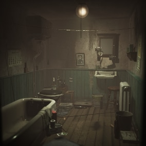 A small interior bathroom environment cluttered with props, perfect for a horror style game.
