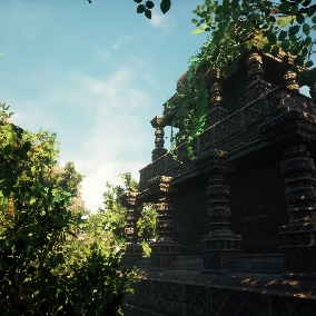 A large number of assets to create a full-fledged rainforest, jungle, ruins.