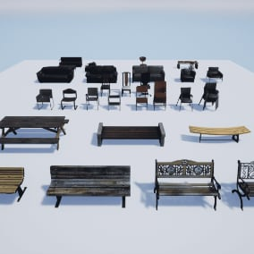 Low Poly Benches and Chairs, VR ready
