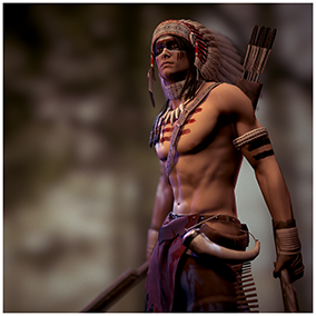 The character is based on the image of the Male Native American Warrior