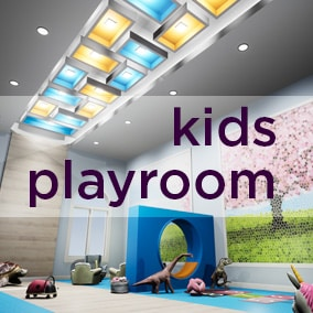 A High-Quality Photo Real model of a kid's playroom with several detailed toys and play fruits and vegetables to fill out the environment.  Great for a playroom, preschool, daycare center, kids' room, etc.