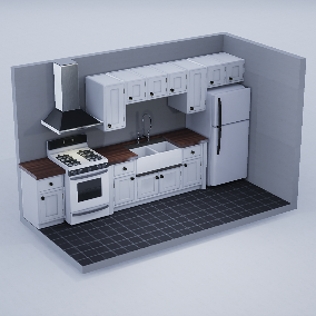 Sink, Fridge, Stove, Cabinets, Tables, Chairs & Stools with 4-6 PBR Materials