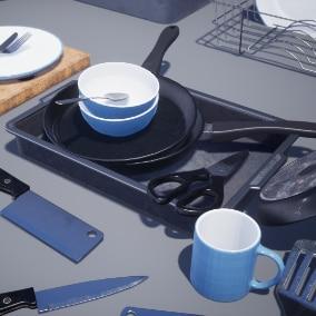 Set of high detail game ready kitchen Utensils