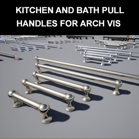 30 Classic and modern styled kitchen and bath pull handles for use in architectural visualization projects.