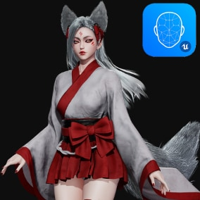 3D model of cute Kitsune. Rigged to Epic Skeleton. Completely modular, body without clothes is included. Contains different hairstyles. Easy color change via Material Instances. Contains Apple Blendshapes that are compatible with Live Link Face app.