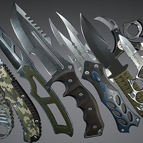 Various stylized knives with color customization.