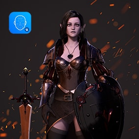 3D model of Modular Dark Elf and Knight Girl,ready for MMO RPG.Rigged to Epic.Completely modular,nude,naked body is included.Weapon is included.Has Instances and ID Maps.52 facial Blendshapes for motion capture.Realistic hair. Tags:Warrior, knight.