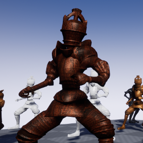 A fantasy character pack featuring Knight and King characters rigged to the Unreal Skeleton, a selection of weapons, a shield asset, and 13 animations to get you started with this fantasy character pack.