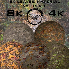 5 AAA Quality Leaves based Materials for all platforms. All Textures have their own 8K,4K,2K and 1K version and ready for every kind of project.