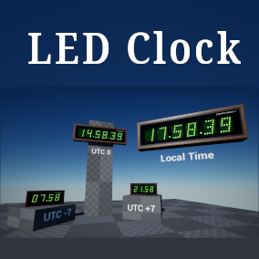 Two digital LED clock blueprints, which is showing your local or UTC time.