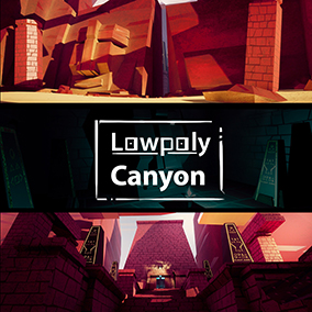 Stylized lowpoly canyon and temple.