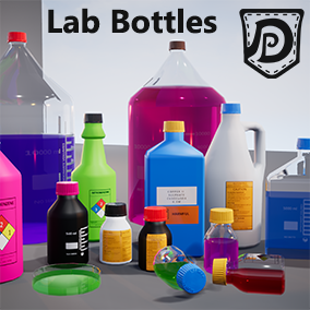 19 high quality assets, ideal for a laboratory or hospital setting. Huge customization via Blueprint: Plastic/Glass, Color, Labels, Glow, Dynamic Liquid Level. Chemical supply like media bottles, petri dish, Erlenmeyer and Graduate Flasks.