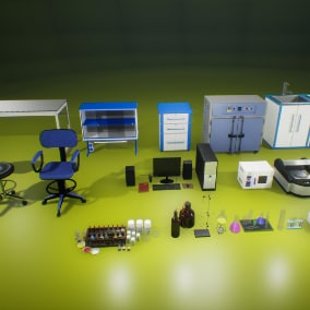 High quality PBR models pack for creating the interior of a laboratory