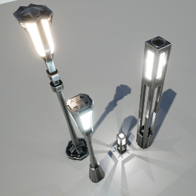 Five different type of lamps with 4K textures (4 lowpoly + 1 highpoly lamp)