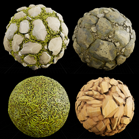 This package contains 14 PBR materials: land, sand, stones, and grass . Materials have a Texture map (Base Color, Normal, Roughness, Height, and Ambient Occlusion). Resolution 2048x2048.