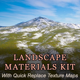 Materials kit with quickly replaceable texture maps in layers for paint on landscape.