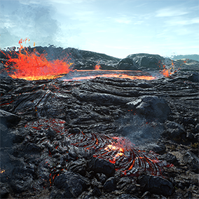 Highly detailed 400 square kilometer photorealistic lava desert landscape. Includes modular lava rivers/lakes, slopes, rocks, plants, lava/sand particle FX and much more. All materials modular and highly tweakable, can easily be customized or extended.