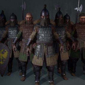 Set of characters to be used with Medieval or realistic-fantasy games. You can choose from 10 predefined versions or use provided parts to create your own combination.