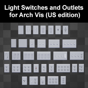 Classic and Modern real world light switches and electrical outlets for use in Architectural Visualizations.