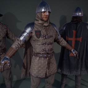 Set of characters to be used with Medieval or realistic-fantasy games. You can choose from 9 predefined versions or use provided parts to create your own combination.
