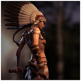 The character is based on the image of the Native American Warrior