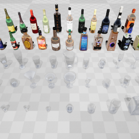 This is a collection of 22 customizable liquor bottles, 32 glasses and 3 decanters.