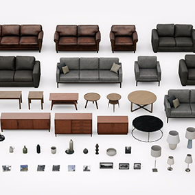 A large set of furniture, lamps, and decoration for a living room. All assets were created with realistic style and AAA quality.