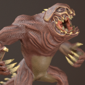 Great 3D model creature-beast for your project with a large set of character animation.