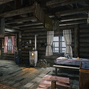 Atmospheric Log Cabin Winter Scene