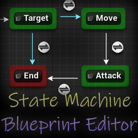 Create State Machines in Blueprints using graphs to define state and transition logic.