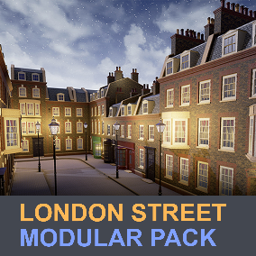 Modular asset of a London street featuring elements of Georgian building facades, shop showcases, lanterns and more.