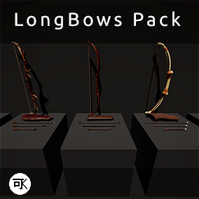 Longbow pack, include 5 longbog with animation, 5 quiver, 5 arrow set 3 arrows per set.