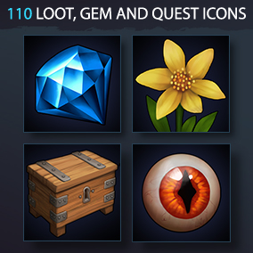Set of 110 realistic general loot, gem, quest, and plant icons.