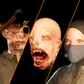 Four female models with facial morphs and epic skeleton