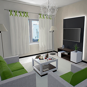 Visualization of Lounge Room in Modern style. Furniture internal filling. Dynamic floor lamp. Decor.