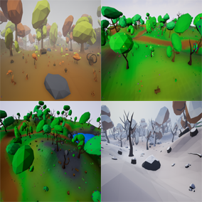 Asset package that include required stuff for create 4 season low poly forest enviroments.