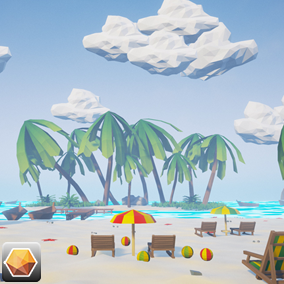 Beautiful Low Poly Beach Landscape Environment!