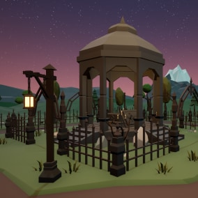 Low poly cemetery props