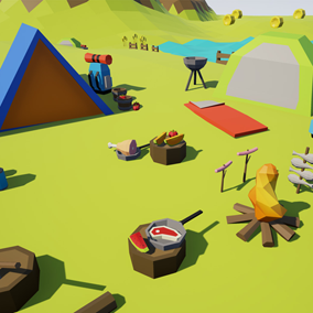 Asset with a lowpoly style composed of different crops, camping stuff, food, animal drops and farm tools, which you can use in your video game. Different textures have been included to create 140 variations.