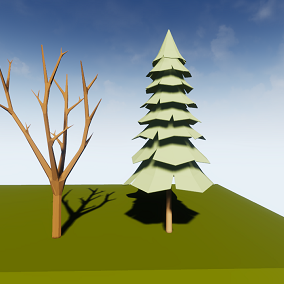 These trees can be used in a low poly stylized game.